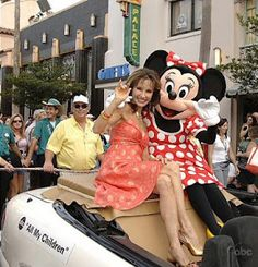"""Susan Lucci one of the stars of """"Untitled""""--the movie, and Minnie Mouse, getting ready for Greg's Annual Birthday parade Disney Dream, Disney Fun, Disney Magic, Walt Disney, Adam Chandler, Susan Lucci, Mountain Living, Strong Women, Soaps"""