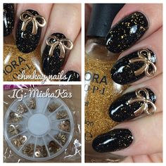 ehmkay nails: New Year's Eve Nails: Gold Bows to Wrap Up the Year! USE FKLC15 FOR 15% OFF LADY QUEEN BEAUTY!