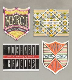 Letterpress Thank You Cards – Pack of 4   Gifts Cards & Stationery   Hammerpress   Scoutmob Shoppe   Product Detail