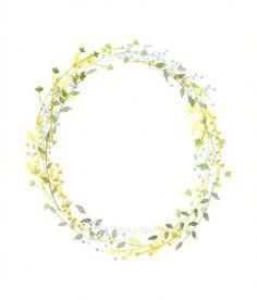 Watercolor Tips, Wreath Watercolor, Watercolor Leaves, Floral Watercolor, Watercolor Paintings, Watercolors, Simple Line Drawings, Cute Drawings, Floral Drawing