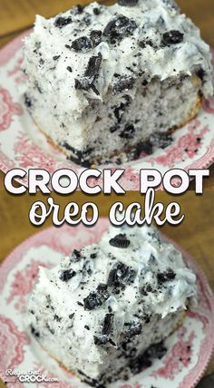 This Crock Pot Oreo Cake is rich, decadent and surprisingly easy to make! It is the perfect cake to make to treat you and yours or to bring to a potluck! Oreo Cake Recipes, Crockpot Dessert Recipes, Crock Pot Desserts, Slow Cooker Desserts, Crock Pot Cooking, Slow Cooker Recipes, Delicious Desserts, Cooking Recipes, Cheesecake Desserts