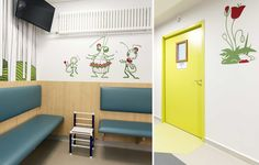 Tahitians are now dancing in the pediatric emergencies at the Nancy University Hospital (France) among other E-Glue large wall decals. © photo: a2mel architecture ••• #wallstickers #walldecals #stickersmuraux #playroom #kidsdesign #kidsclinic #pediatrichospital #hospitaldesign #dentistclinic #dentalclinic #childrenshospital #kidshospitalinterior