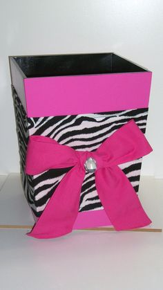 Wooden Waste BasketHot Pink and Zebra by DREAMATHEME on Etsy, $30.00 or by a cheap one and some duck tape lol priceless