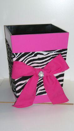Wooden Waste Basket-Hot Pink and Zebra Zebra Print Bedroom, Zebra Room Decor, Zebra Bathroom, Bathroom Stuff, Bathroom Ideas, Pink Zebra Rooms, Graduation Gifts, Graduation 2015, Girls Bedroom