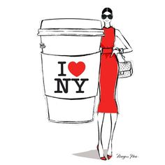 """My 'I Love NY' coffee girl Illustration for New York Fashion Week! Enjoy your Monday everyone. X"""