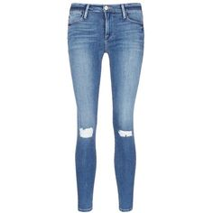 Frame Denim 'Le High Skinny' ripped knee jeans ($250) ❤ liked on Polyvore featuring jeans, pants, bottoms, blue, skinny leg jeans, torn jeans, ripped skinny jeans, super destroyed skinny jeans and distressed jeans