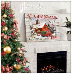 Christmas Truck Canvas Christmas Wall Art Canvas, Canvas Wall Art, Canvas Prints, Christmas Truck, Home Wall Art, Canvas Material, Beautiful Christmas, Roads, Cotton Canvas
