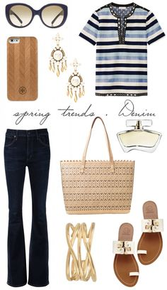 a la plage style blog women's fashion outfit idea spring 2015 trend denim tory burch stella & dot citizens of humanity jeans jennifer anniston perfume
