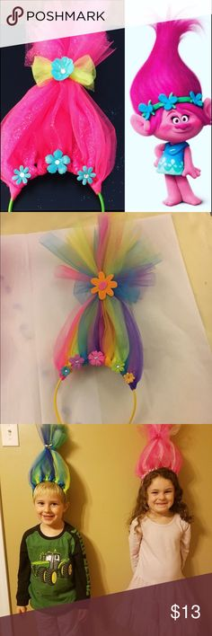 Thought it would be fun to make these with the kids and then watch trolls! Trolls Birthday Party, Troll Party, 2nd Birthday, Birthday Parties, Birthday Ideas, Crafts For Kids, Diy Crafts, Bday Girl, Festa Party