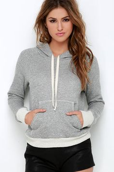 Start your day off right in the Project Social T Morning Meditation Heather Grey Hoodie! Heather grey, medium-weight knit has a hood and drawstring above a straight-cut bodice with a classic kangaroo pocket. Cream terry knit cuffs and hemline offer a slightly tapered look. Unlined. 75% Cotton, 25% Polyester. Machine Wash Cold. Made with Love in the U.S.A.