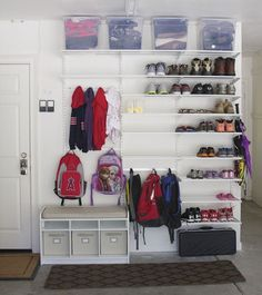 I love this idea for an organized garage! If you don't have space for a mudroom area inside your home, this simple DIY will help you create one in your garage! Garage Organization, Garage Storage, Diy Storage, Organized Garage, Storage Ideas, Storage Shelves, Storage Solutions, Organizing Ideas, Organizing Kids Shoes