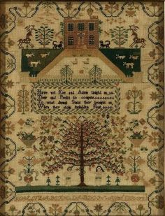an history of samplers in the c. USA with many examples Embroidery Sampler, Cross Stitch Embroidery, Chicken Scratch, Cross Stitch Samplers, Adam And Eve, Antique Quilts, Country Primitive, Design Show, Needlework