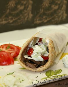 Healthy, Low Calorie, Low Fat, Quick Dinner Leg of Lamb Gyro with Tzatziki Sauce Lamb Recipes, Greek Recipes, Cooking Recipes, Shawarma, I Love Food, Good Food, Yummy Food, Lamb Gyros, Greek Dishes