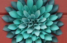 Bastelideen aus Papier üppig opulent kranz türkis