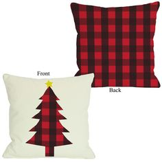 One Bella Casa Plaid Christmas Tree Reversible Polyester Throw Pillow