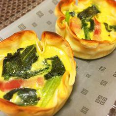 お弁当に入れてもかわいいミニキッシュ♡ オーブンがなくてもトースターで作れます( ´ ▽ ` )ノ