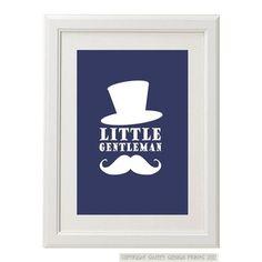 Little Gentleman Top Hat & Moustache Art Print