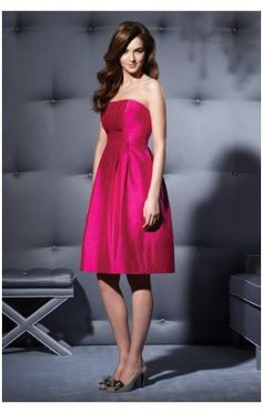 Casual Princess Short Strapless Fuchsia Satin Dress