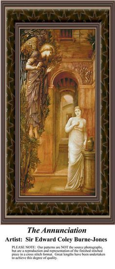 The Annunciation, Religious Counted Cross Stitch Pattern also available in Kit and Digital Download #pinterestcrossstitchpattern #pinterestgifts #fineartcrossstitchpatterns