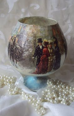 MonaDecu Christmas Balls, Christmas Crafts, Christmas Decorations, Jar Crafts, Decor Crafts, Decoupage Glass, Candels, Bottle Art, Painting On Wood