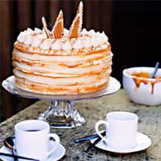 Macchiato Layer Cake - Layers of espresso cake, vanilla bean latte buttercream and dulce du leche caramel.