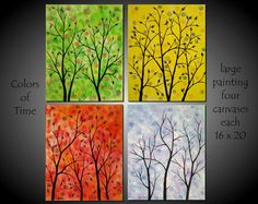 Four Seasons Tree Painting XLarge Huge by jmichaelpaintings, $149.00