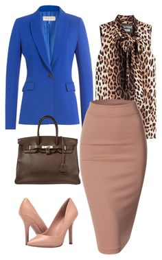 """Non-Boring Work Outfit 14"" by onyxbertha ❤ liked on Polyvore featuring Emilio Pucci, Boutique Moschino, Doublju, Charles by Charles David and Hermès"
