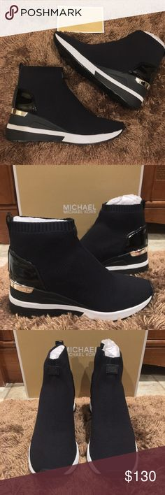 9a79e952bb6 NIB Michael Kors Skyler Knit Wedge Sneaker Booties From MICHAEL Michael Kors
