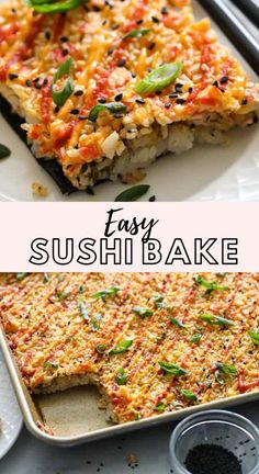 This Easy Sushi Bake is made with creamy crab filling, spicy mayo, and tangy sweet rice. You'll love how easy and delicious it is.