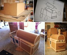 I built a Thomas the Train out of cardboard boxes. Putting it all together.