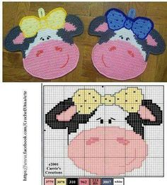 2 Crochet Patterns - Dog and paw Decor or potholders - Amigurumi Crochet Pattern - PDF file by Zabelina Crochet Potholder Patterns, Crochet Motifs, Crochet Dishcloths, Crochet Diagram, Crochet Cow, Crochet Amigurumi, Plastic Canvas Coasters, Plastic Canvas Patterns, Manta Animal