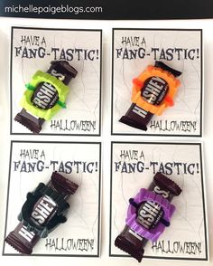 Fangtastic Halloween Printable cards. Add plastic fangs and candy.