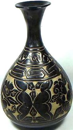 "Exceptionally Striking, Very Large Genuine Ancient Medieval Mongol Glazed Sculpted (""Carved"") Ceramic Vase.    CLASSIFICATION: Glazed Sculpted/Carved Ceramic Vase.    ATTRIBUTION: In the Style of Ancient China, Yuan Dynasty (1275-1368 A.D.). Possibly an 18th or 19th Century Revival Imitative."
