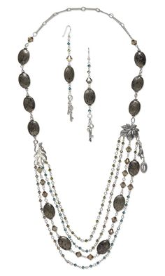 Multi-Strand Necklace and Earring Set with Pyrite Gemstone Beads, Swarovski Crystal Beads and Sterling Silver Components