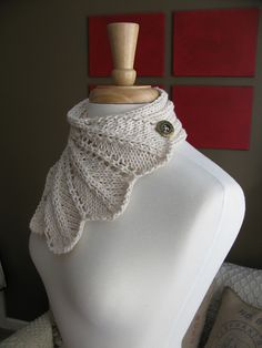 Feather Lace Buttoned Wrap Cowl by The Knit Knot