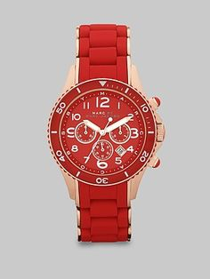 Marc by Marc Jacobs  Rose-Gold IP Finished Stainless Steel Red Chronograph Bracelet Watch
