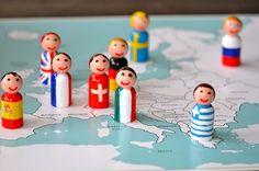 Fun way to learn Geography! Flag Peg People Map Close SortingSprinkles, via Flickr