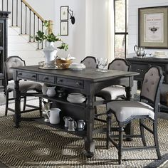 Bedford Corners Counter Height Storage Table And 4 Chairs by Magnussen Home at Mueller Furniture Dining Room Sets, Kitchen Dining Sets, 3 Piece Dining Set, Pub Table Sets, Bar Tables, Pub Table And Chairs, Kitchen Reno, Counter Height Pub Table, Table Height