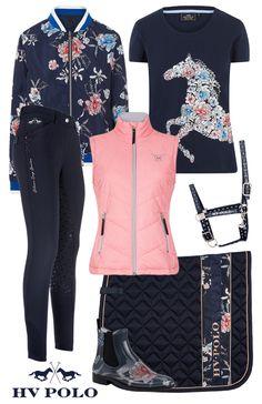 Hv Polo Navy Flower #shopthelook #horsefashion #epplejeck #hvpolo #horses #summer