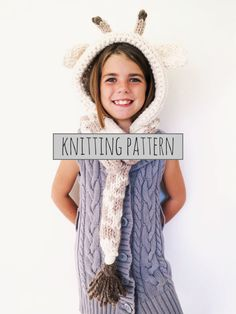PATTERN for Giraffe Hat Hood Cowl Scarf Knit Toddler Child Adult // Georgie the Giraffe Hood PATTERN
