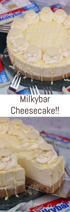 No-Bake Creamy White Chocolate Milkybar Cheesecake! No-Bake Creamy White Chocolate Milkybar Cheesecake! Sweet Recipes, Baking Recipes, No Bake Desserts, Just Desserts, Delicious Desserts, Yummy Food, Baking Desserts, Cupcakes, Gastronomia