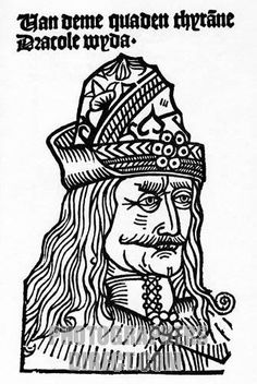 vlad dracula - a woodcut from the earliest surviving work about the prince