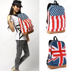 Discount China china wholesale British and USA Flag Leisure Backpack School Bag Canvas Backpack [40617] - US$31.24 : DealsChic