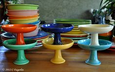 Vintage Fiesta® Dinnerware Sweets Comports (aka Compote) Available in six colors Vintage Dishes, Vintage Kitchen, Vintage Pyrex, Fiesta Ware Dishes, Fiesta Kitchen, Kitchenware, Tableware, Vintage Dinnerware, Kitchen Items
