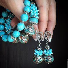 """Купить Браслет """"Когда улыбаются небеса"""" - бирюзовый, бирюзовый браслет, браслет из бирюзы, Тибетские бусины"""
