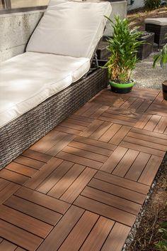 BuildDirect – Interlocking Deck Tiles - Composite QuickDeck Series – Chestnut - Outdoor View