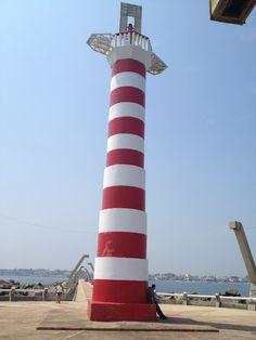 Coatzacoalcos West Breakwater Lighthouse in Veracruz, Mexico.