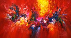 """Red Energy L 2  Contemporary art . Acrylic painting on canvas   Original with certification of authenticity. Size of this abstract  painting: 61.0""""w x 33.5""""h x 1.5""""d"""