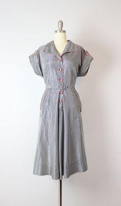 vintage 40s taffeta dress   1940s gingham dress   navy and white day dress    shirtwaist dress   Blue Ribbon dress f0618ae5d