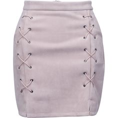 Nude Faux Suede Lace Up Side Pencil Skirt (137855 PYG) ❤ liked on Polyvore featuring skirts, bottoms, faldas, jupes, mini skirts, zip skirt, lace up front skirt, purple skirt, body con pencil skirt and lace up pencil skirt